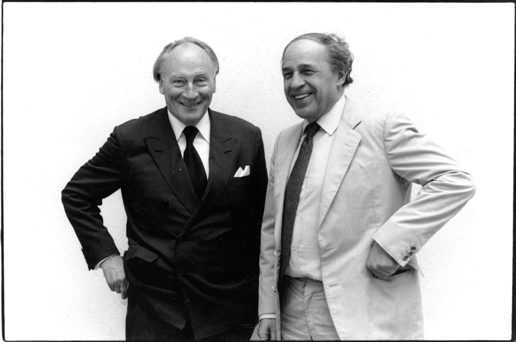 Paul Sacher and Pierre Boulez in Paris 1987 / Paul                Sacher et Pierre Boulez à Paris en 1987. Photo © Marion Kalter. By permission.